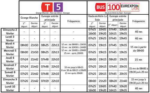 Horaires Navettes