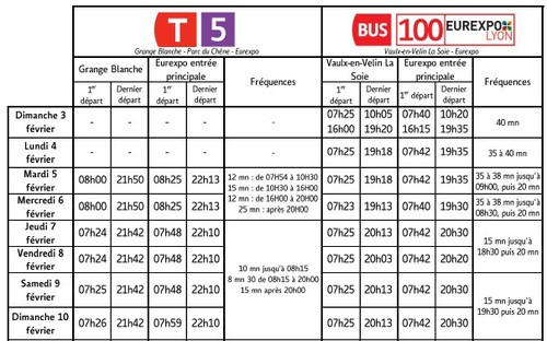 Horaires TCL