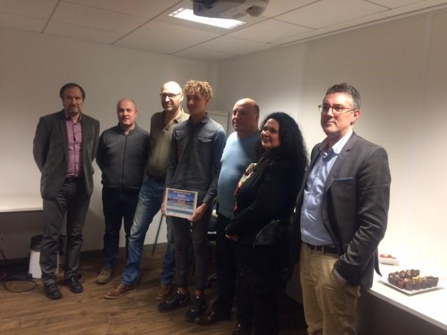 Le Prix du Mérite 2018 du Stand BTP est décerné à Lilian VALLET, apprenti en CAP Menuisier Aluminium-verre