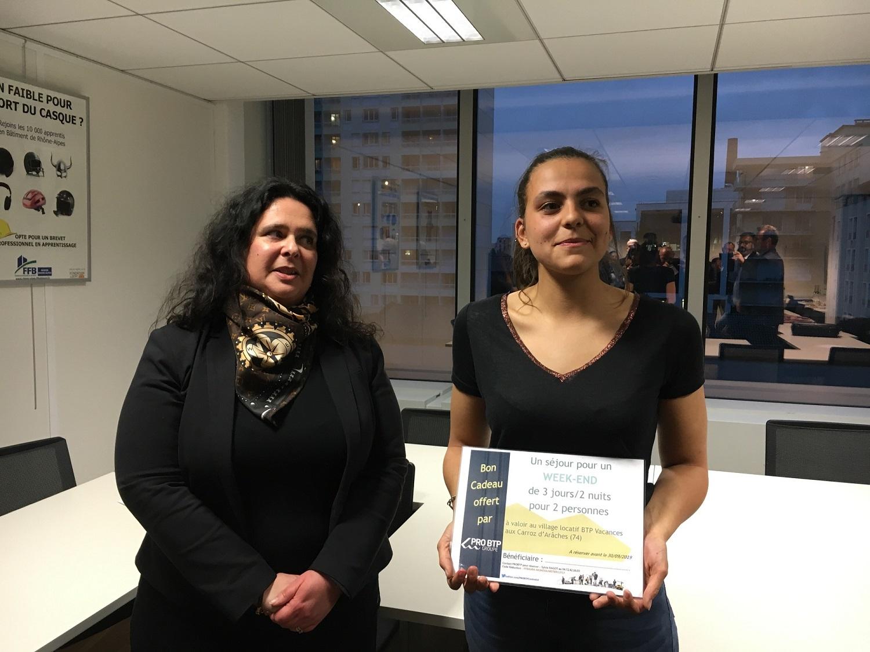 Le prix du Mérite BTP 2019 est décerné à Romane IGONIN pour son investissement au 23e Mondial des Métiers !